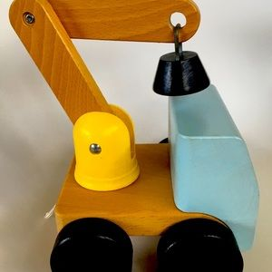Handmade Large Heavy Wooden Toy Tow Truck Toddler
